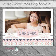 SALE INSTANT DOWNLOAD - Aztec Summer Marketing Board 1- custom 5x7 photo template by fototaledesigns on Etsy Graduation Templates, Graduation Announcements, Mini Sessions, Photo Displays, All The Colors, Aztec, Digital Marketing, Cool Designs, Photoshop