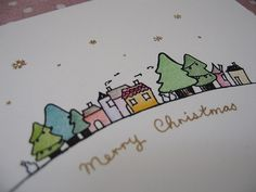 Gocco Print & Hand Coloured Christmas Card