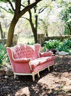 I always keep my Pink Tufted Sofa in the backyard...