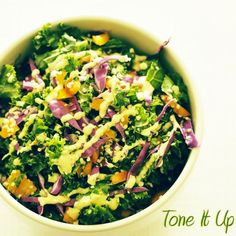 Here's a tasty Confetti Kale Salad with Dijon Dressing that we love because of the garlic in it! + benefits of garlic
