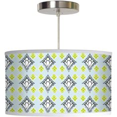 2Modern - Kids & Baby 16x9 Hanging Pendant Lamp (Paris Blooms pattern)