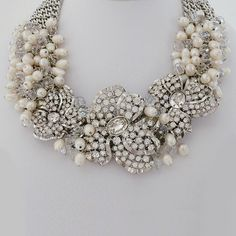 Badgley Mischka Bridal Jewelry | Pearl & Crystal Wedding Statement Necklace