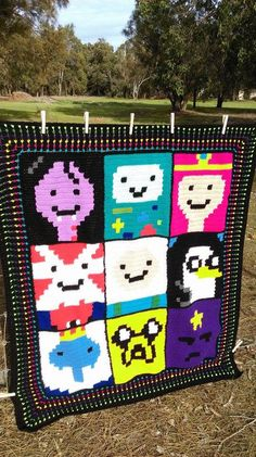 Adventure Time - Blanket/Graphgan. Project info, graphs and pattern links here: http://www.ravelry.com/projects/LindaDavie/adventure-time-blanket