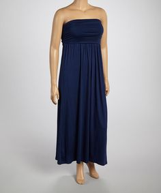 Look what I found on #zulily! Navy Ruched Maxi Dress - Plus by Poliana Plus #zulilyfinds