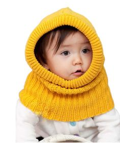 Winter Beanie Crochet Kids Boys Girls Outdoor Warm Hat Hooded Scarf Wool Knitted Cover Shawl Cap