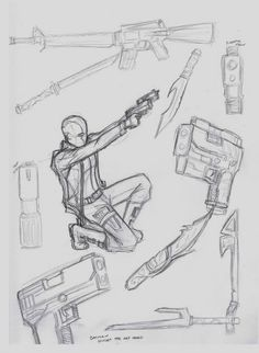 How to draw guns~Sketch Drawing Base, Manga Drawing, Figure Drawing, Drawing Sketches, Drawings, Drawing Tips, Drawing Reference Poses, Design Reference, Poses References
