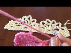 Cómo hacer una puntilla en punto alto doble y punto alto triple en crochet (#1) - YouTube