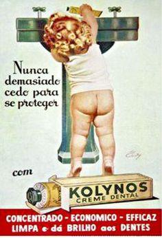 Propaganda do Kolynos nos anos 40. Comunicação clássica e formal para a venda do creme dental.