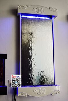 "Classical design wall mounted indoor waterfall fountain .46""by22"" ,white frame,silver mirror,colors changing LED on top."