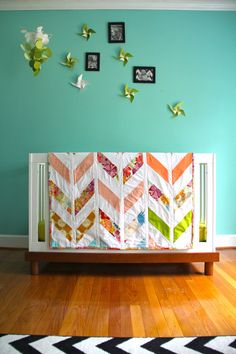 herringbone quilt in your colors by iviebaby on Etsy