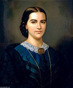 1864 - 'Portrait of a Lady', Oil on canvas, by Juan Cordero (Mexico, 1822 - 1884)