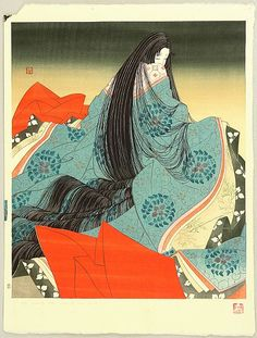 """""""Akashi"""" by Yoshio Okada, 1970's (The Tale of Genji) """"These poor sleeves of mine are too narrow: I cannot caress her alone, and I look to the tall pine for his overspreading shade."""" (14, p. 288)"""