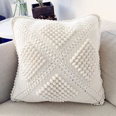 Vintage Popcorn Stitch Cushion Cover