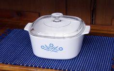 3 Quart ~ Blue Cornflower ~ Corning Ware ~ Saucepan/Casserole with Pyrex Lid ~ Small Roaster/Dutch Oven by JingleBeanFarm on Etsy
