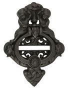 10 Inch (9 1/4 Inch c-c) Solid Brass Cherubs French Empire Door Knocker (Oil Rubbed Bronze Finish)