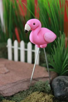 Polymer Clay Flamingo Mini Flamingo Miniature by GnomeWoods
