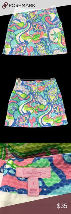 """Lilly Pulitzer Skort Size 2 Lilly Pulitzer Marigold skirt in Conch Republic Print  This is a reposh...I was so excited to get this because I adore this print, unfortunately it's too small in the waist for me. ☹️ Love the colors in this Skort! Beautiful for spring too!  It is in perfect condition! Waist measures 14.5 laying flat Length 15"""" Lilly Pulitzer Shorts Skorts"""