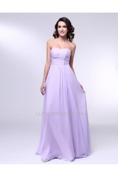 A-Line Strapless Long Chiffon Prom Evening Formal Dresses ED010997
