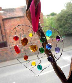 Rainbow Beaded Heart - a suncatcher