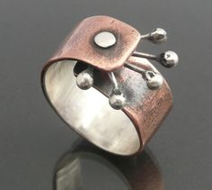Cold Connected Copper Sterling Silver Ring Size 6 by LjBjewelry