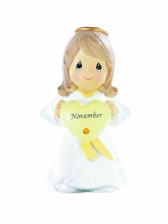 Precious Moments - November Angel Figure - Yellow Topaz Birthstone - Available at Ann's Gift Shop. November Baby, November Birthday, Sweet November, January, Birthday Angel, Birthday Board, Birthday Ideas, Topaz Birthstone, Lucky Colour