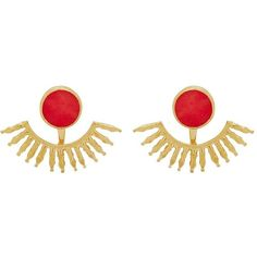 Ottoman Hands Fire Cracker Swing Back Earrings ($62) ❤ liked on Polyvore featuring jewelry, earrings, coral, butterfly stud earrings, butterfly jewelry, chunky earrings, hammered jewelry and earrings jewelry