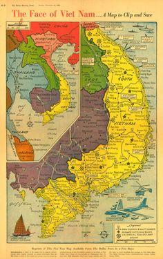 The Face of Vietnam .map of Vietnam from v Vietnam Map, Vietnam History, Vietnam War Photos, South Vietnam, Vietnam Veterans, Vietnam Travel, Saigon Vietnam, Indochine, Framed Maps