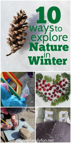 Get outside and explore nature in the winter! Here are 10 fun kids activities to get outside and explore nature in the winter. nature 10 Ways to Explore Nature In Winter - Creative Family Fun Winter Outdoor Activities, Snow Activities, Nature Activities, Fun Activities For Kids, Family Activities, Toddler Winter Activities, Preschool Activities, Preschool Learning, Educational Activities