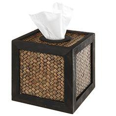 Decorative Brown Wood & Woven Bamboo Design Facial Tissue Cover Storage Box / Paper Napkin Dispenser