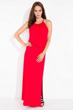 eb177fb269 Długa letnia sukienka w kolorze czerwonym bez rękawków. Sukienka jest  przewiewna z odsłoniętymi plecami.