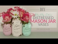 Distressed Mason Jar Vase Piece - Shabby Chic Need to know this so I can copy the home sweet home sign with a jar attached. Diy Mason Jar Lights, Glitter Mason Jars, Mason Jar Vases, Mason Jar Centerpieces, Mason Jar Diy, Mason Jar Crafts, Wedding Centerpieces, Distressed Mason Jars, Rustic Mason Jars