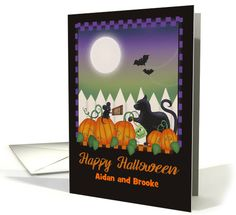 Personalized Halloween with Black Cat, Mouse, Pumpkin Patch, Moon card