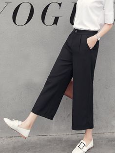 Ankle-Length pants Casual Summer Chiffon Cheap Women Wide-legged Pants – Daily Fashion Tips Wide Pants Outfit, Wide Leg Pants, Black Pants, Women's Pants, Adidas Pants, White Pants, Dress Black, Casual Summer Dresses, Casual Outfits