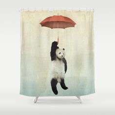 Pandachute+Shower+Curtain+by+Vin+Zzep+-+$68.00