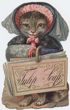 Cats in Art, Illustration, Photography, Design and Decorative Arts: Tulip Soap advertising card