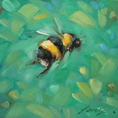 Bumblebee painting Tiny original impressionistic oil by LaveryART Small Paintings, Animal Paintings, Original Paintings, Bee Painting, Painting & Drawing, Bee Art, Art World, Lovers Art, Painting Inspiration