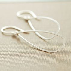 Sterling Silver Teardrop Earrings Metal Hoop Earrings by aubepine