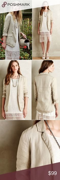 ANTHROPOLOGIE Libby Linen Blazer Jacket Natural Woven Linen; Cotton Lining. Front Pockets. Button Front. Machine Wash. Imported.  By Marrakech. Size small. Brand new with tags. Anthropologie Jackets & Coats Blazers