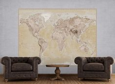 Wall mural photo wallpapers for home walls. Brown political map wall mural in size 232 x 158cm. Home wall decor. Hundreds designs at homewallmurals.co.uk