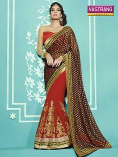 Brown and Red Gergette saree with blouse