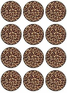12 Custom Personalised Leopard Print Design Edible Icing Cupcake Topper Images | eBay