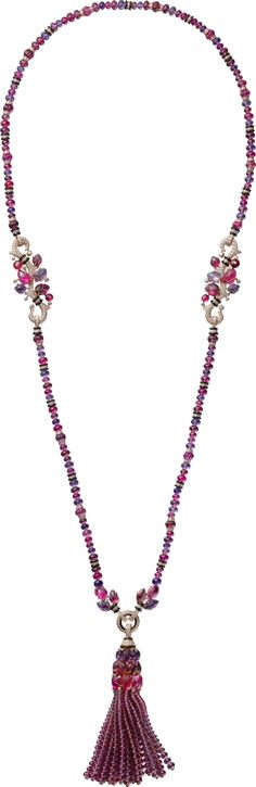 CARTIER - Long necklace with engraved stones, 18K pink gold, set with rubellites, amethysts, garnets, onyx and 879 brilliant-cut diamonds totaling 5.74 carats. This long necklace can be worn with or without the tassel. It can also be worn as a short necklace.