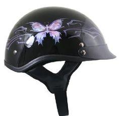 Cool DOT Glossy Black Purple Butterfly Women's Motorcycle Helmet Sz XS