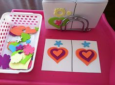 Use foam cut out (or foam stickers) to make a pattern on one side of a card.  Provide extra shapes in a basket for the kids to replicate the pattern on the other side of the card.