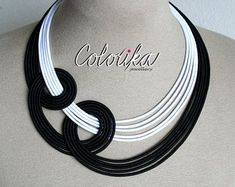 Statement textile rope strand african necklace jewelry by COLORIKA