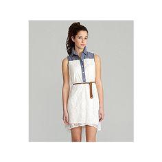 Sapphire Dolls Chambray Lace Shirt Dress | Dillards.com ($69) via Polyvore