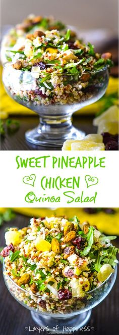 Pineapple Chicken Quinoa Salad A light and healthy quinoa salad loaded with grilled chicken, salted pistachios, and shredded coconut.A light and healthy quinoa salad loaded with grilled chicken, salted pistachios, and shredded coconut. Lunch Snacks, Healthy Snacks, Healthy Eating, Healthy Recipes, Lunches, Pineapple Recipes Healthy, Radish Recipes, Quinoa Salad Recipes, Quinoa Flakes Recipes
