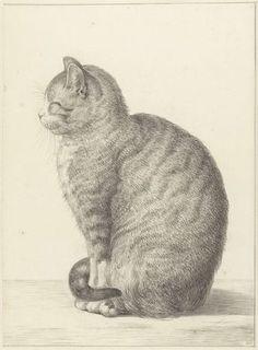 Zittende kat, naar links, Jean Bernard, 1815 smiling cat!