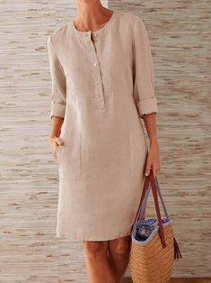 Buttoned Down Pockets Plus Size Dresses is part of Dresses Shop Causal Dresses Shift Casual Causal Dresses online Discover unique designers fashion at noracora com - Linen Dresses, Casual Dresses, Fashion Dresses, Dresses For Work, Cheap Dresses, Maxi Dresses, Affordable Dresses, Fashion Clothes, Dress Outfits