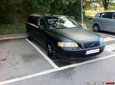 murdered out cars: Flat Black Volvo V70 Wagon Murdered Out